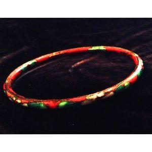 Jewelry - Vintage Bracelet Cloisonne Bangle Red Floral